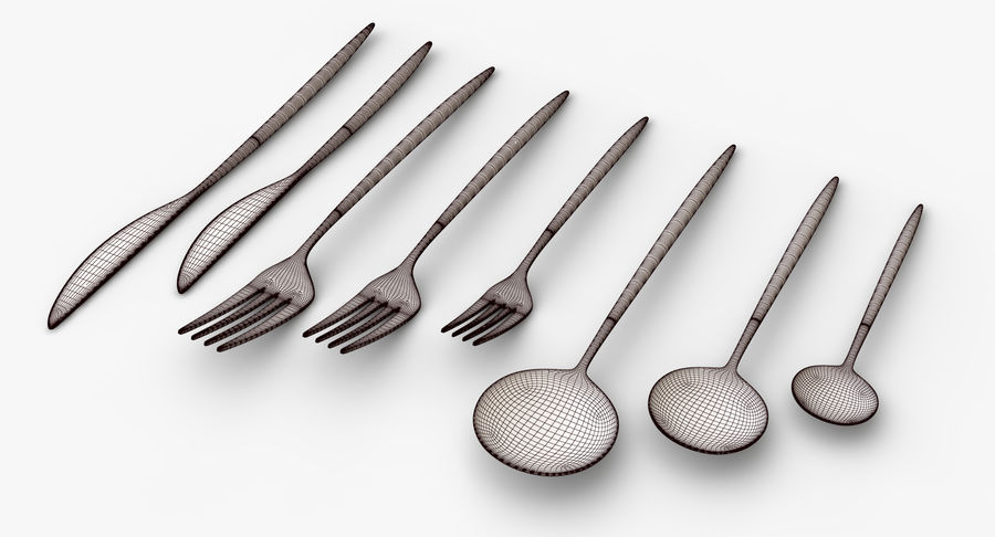 Flatware Spoon Fork Knife royalty-free 3d model - Preview no. 9