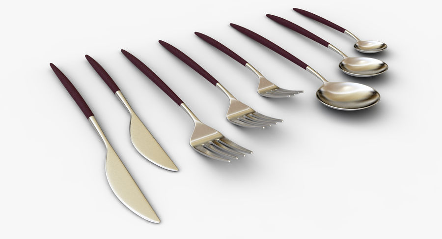 Flatware Spoon Fork Knife royalty-free 3d model - Preview no. 5