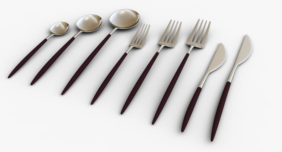 Flatware Spoon Fork Knife royalty-free 3d model - Preview no. 4