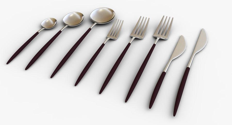 Столовые приборы ложка вилка нож royalty-free 3d model - Preview no. 4