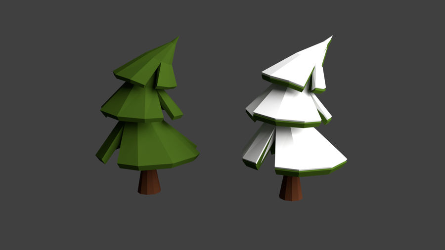 Arbres low poly royalty-free 3d model - Preview no. 5