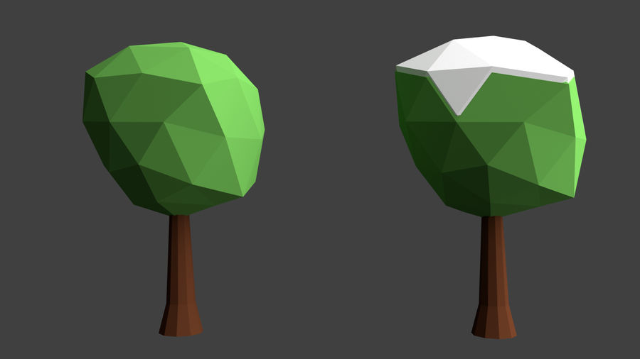 Arbres low poly royalty-free 3d model - Preview no. 12