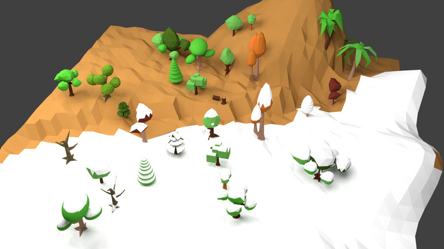 Arbres low poly royalty-free 3d model - Preview no. 2