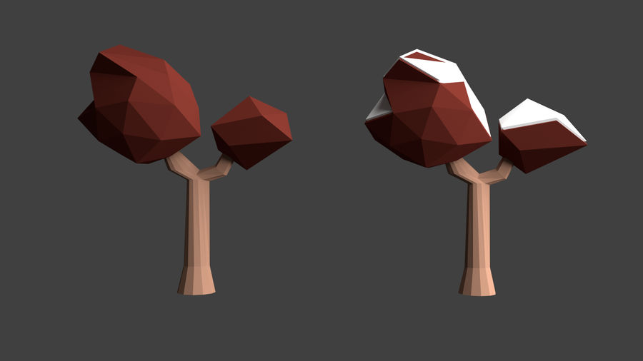 Arbres low poly royalty-free 3d model - Preview no. 17