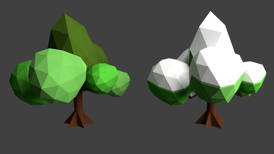 Arbres low poly royalty-free 3d model - Preview no. 6