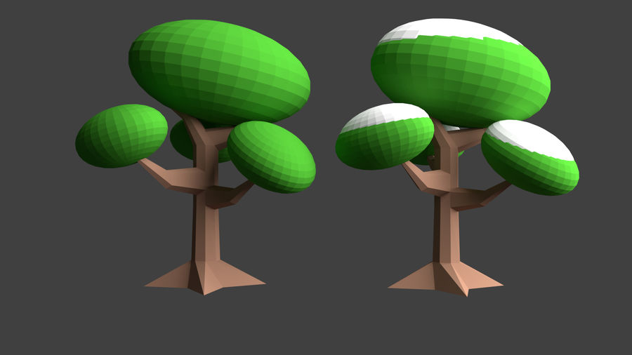 Arbres low poly royalty-free 3d model - Preview no. 8