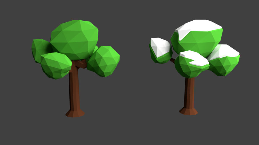 Arbres low poly royalty-free 3d model - Preview no. 3