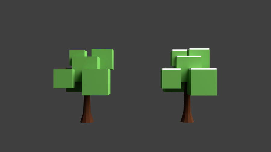 Arbres low poly royalty-free 3d model - Preview no. 9