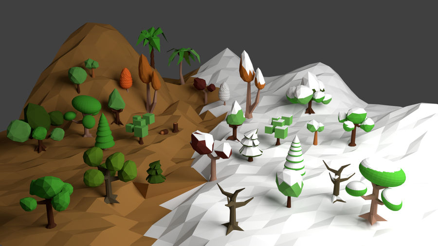 Arbres low poly royalty-free 3d model - Preview no. 1