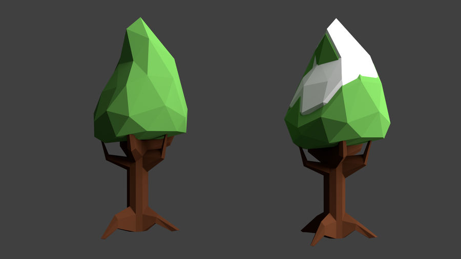 Arbres low poly royalty-free 3d model - Preview no. 10