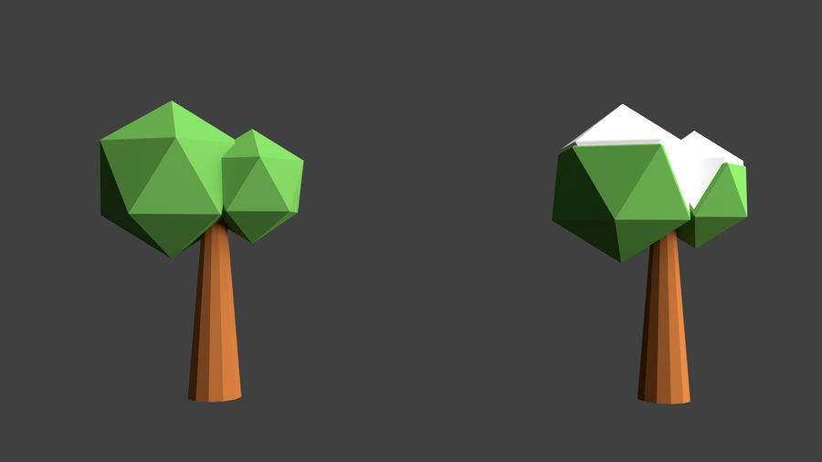 Arbres low poly royalty-free 3d model - Preview no. 15
