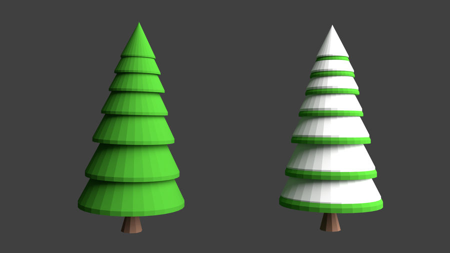 Arbres low poly royalty-free 3d model - Preview no. 7