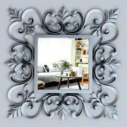 Espelho quadrado prateado ornamentado 3d model