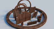 Zasób drewna 3d model