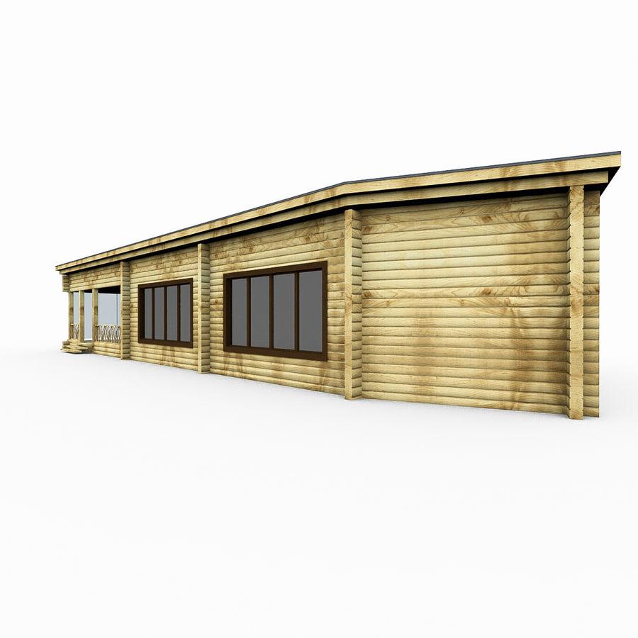 Drewniana i szklana sauna z bali royalty-free 3d model - Preview no. 4