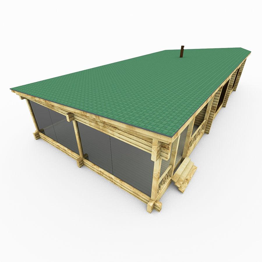 Drewniana i szklana sauna z bali royalty-free 3d model - Preview no. 6