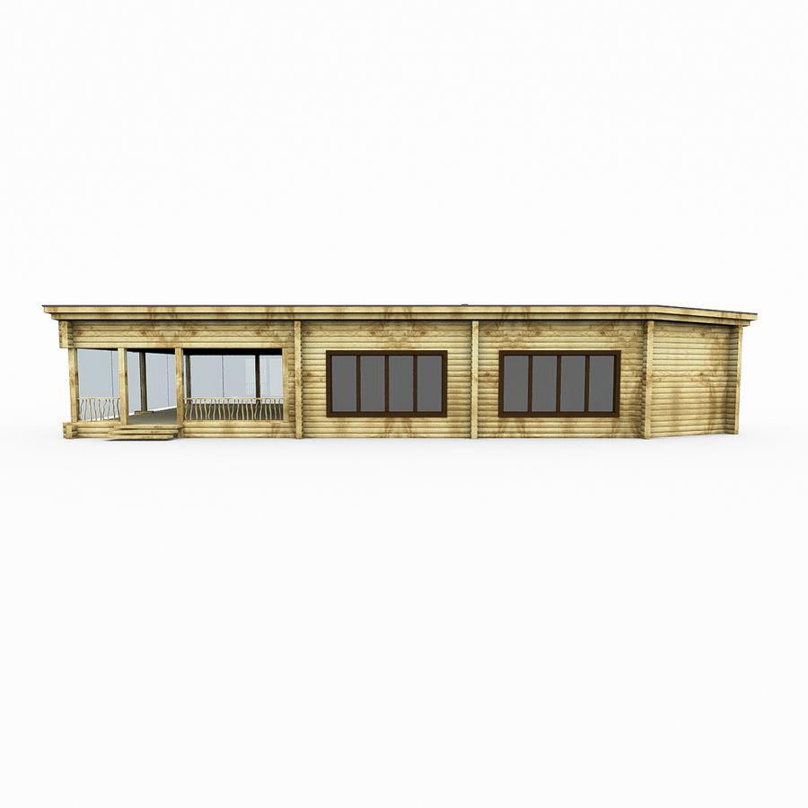 Drewniana i szklana sauna z bali royalty-free 3d model - Preview no. 5