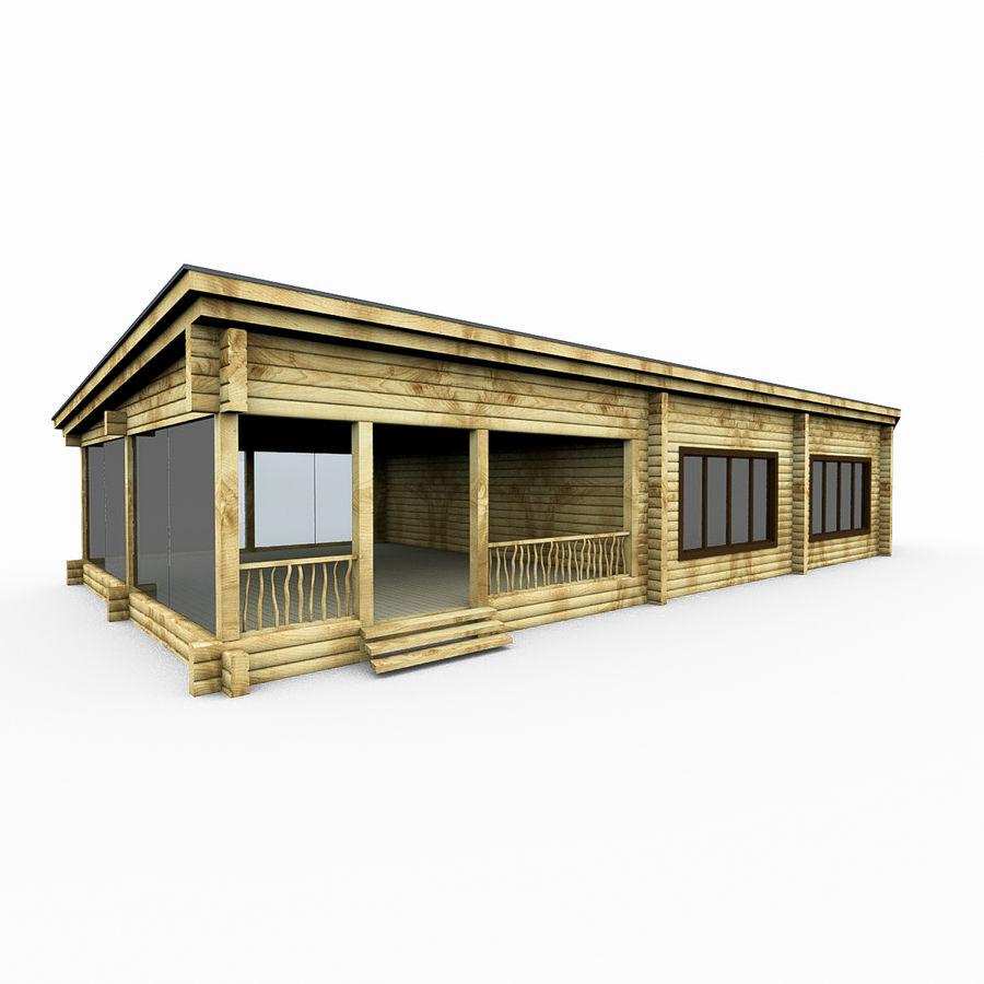 Drewniana i szklana sauna z bali royalty-free 3d model - Preview no. 1