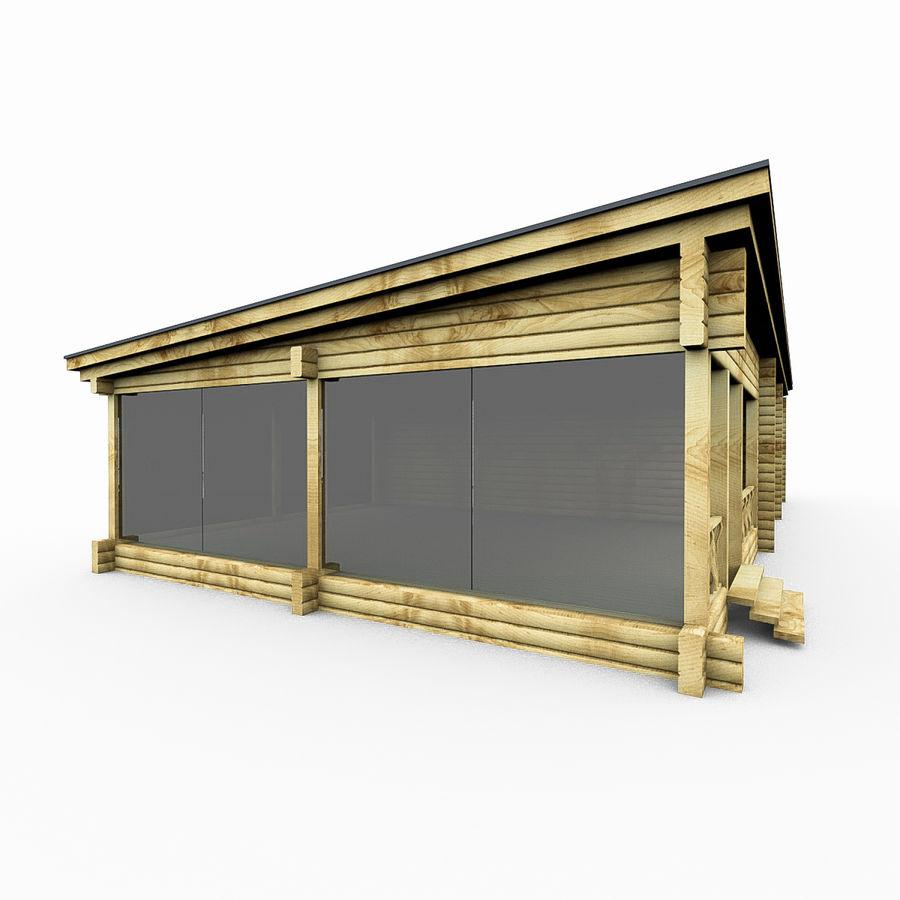 Drewniana i szklana sauna z bali royalty-free 3d model - Preview no. 2