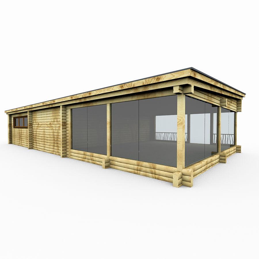 Drewniana i szklana sauna z bali royalty-free 3d model - Preview no. 3
