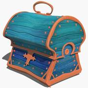 Chest stylized ancient marine old retro treasure cartoon lowpoly VR 3d model