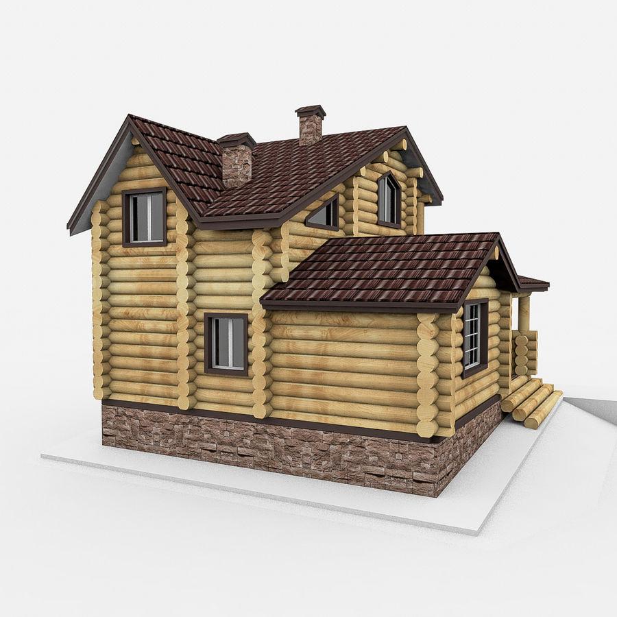 Dom z bali drewnianych royalty-free 3d model - Preview no. 3