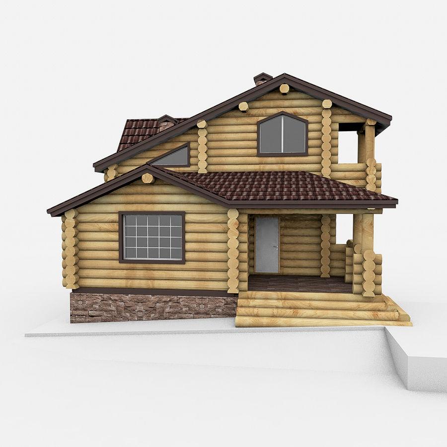 Dom z bali drewnianych royalty-free 3d model - Preview no. 2