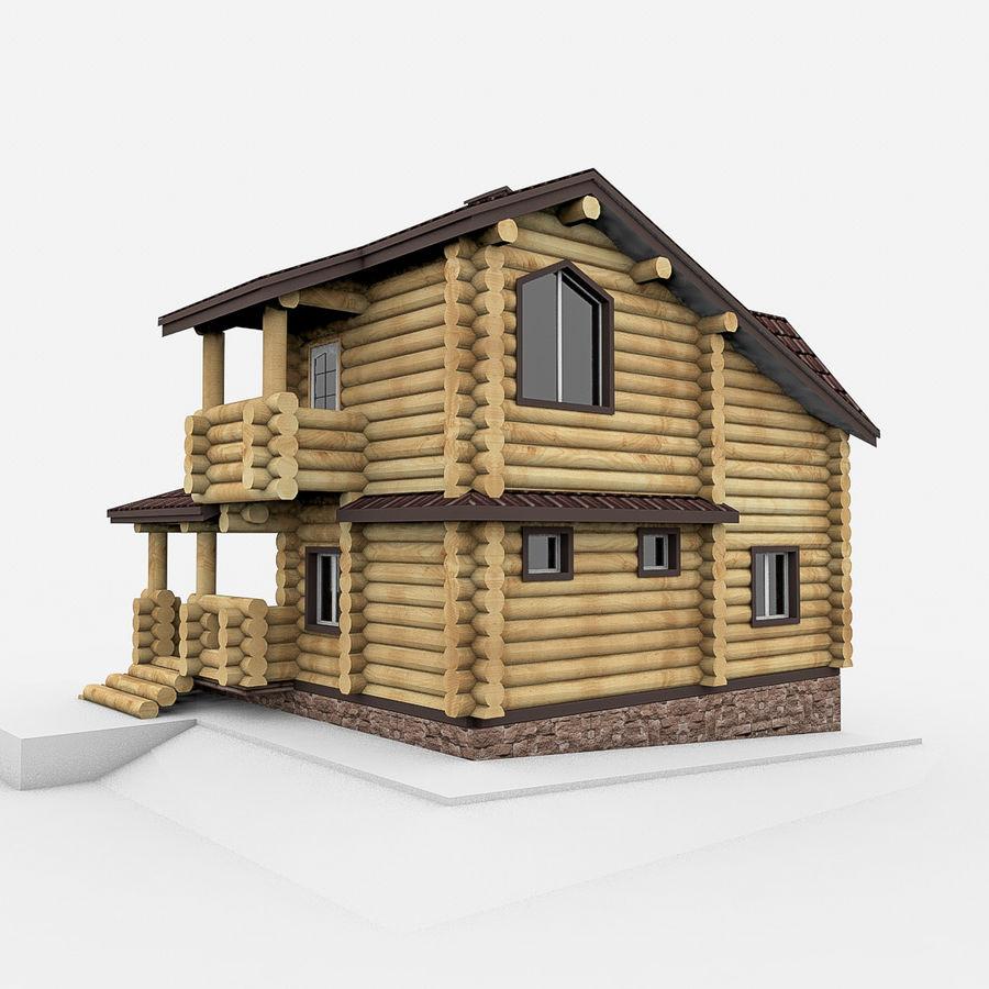 Dom z bali drewnianych royalty-free 3d model - Preview no. 5
