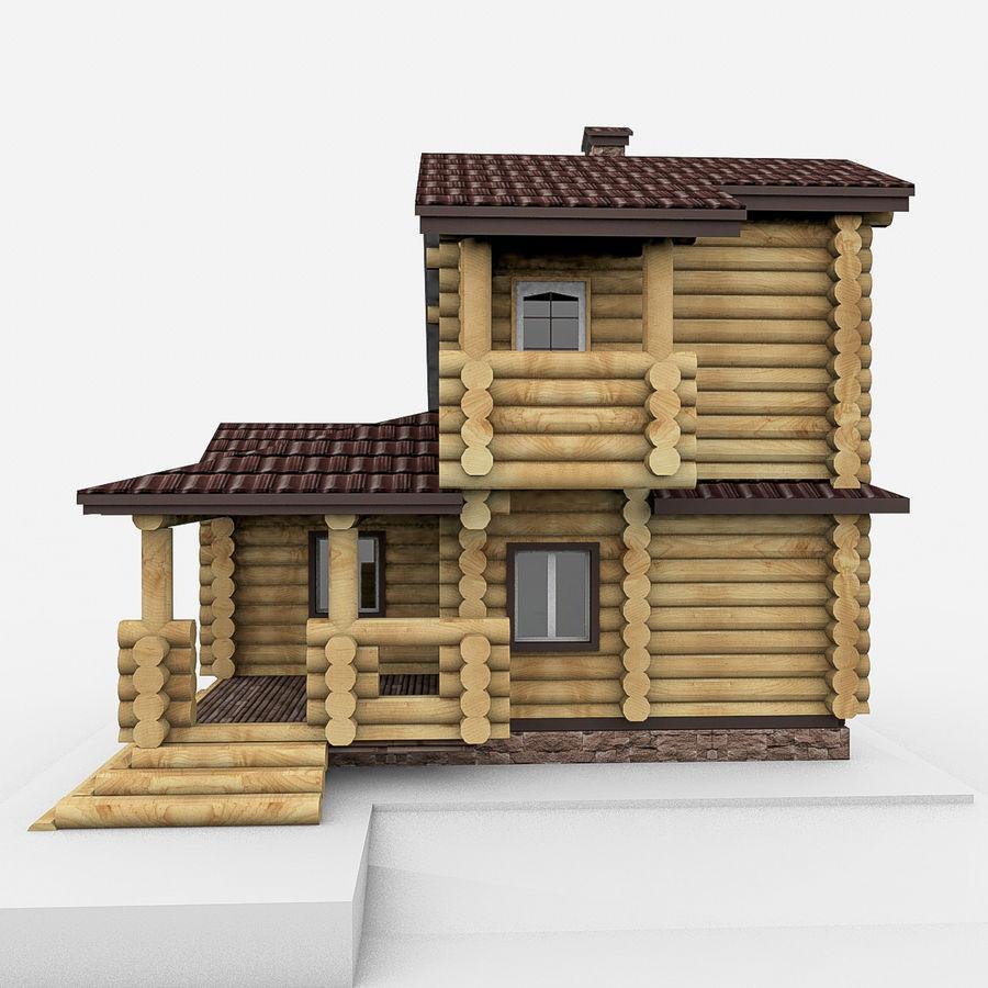 Dom z bali drewnianych royalty-free 3d model - Preview no. 4