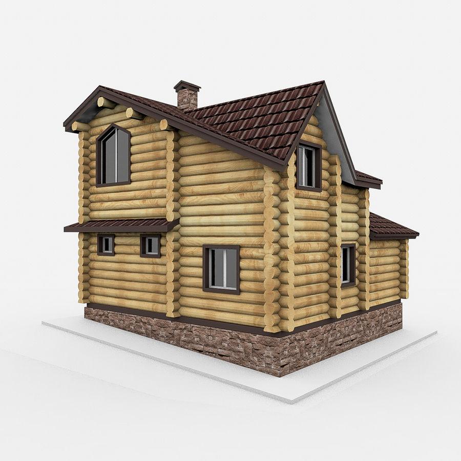 Dom z bali drewnianych royalty-free 3d model - Preview no. 6