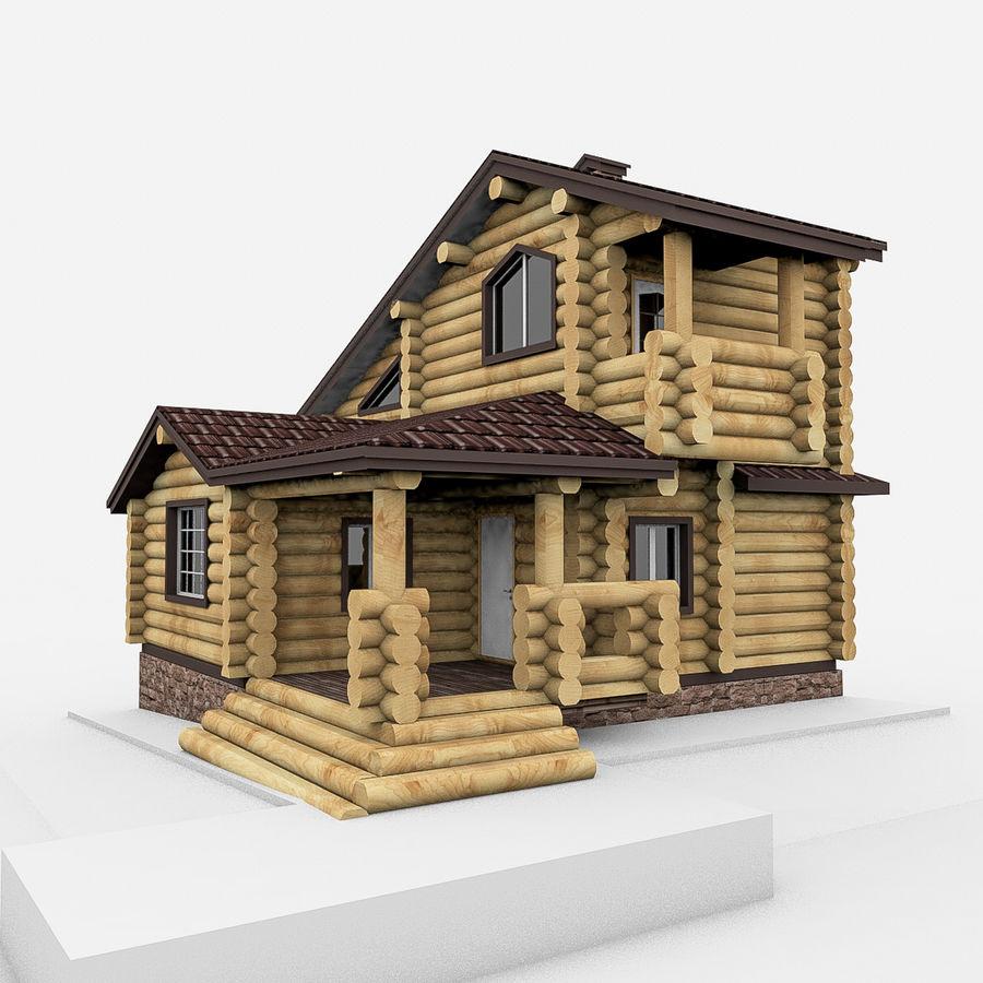 Dom z bali drewnianych royalty-free 3d model - Preview no. 1