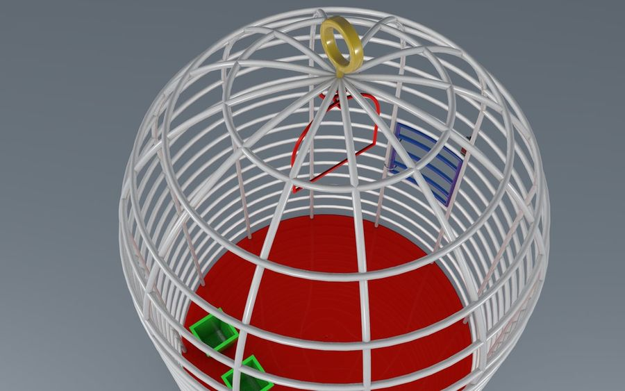birds cage royalty-free 3d model - Preview no. 3