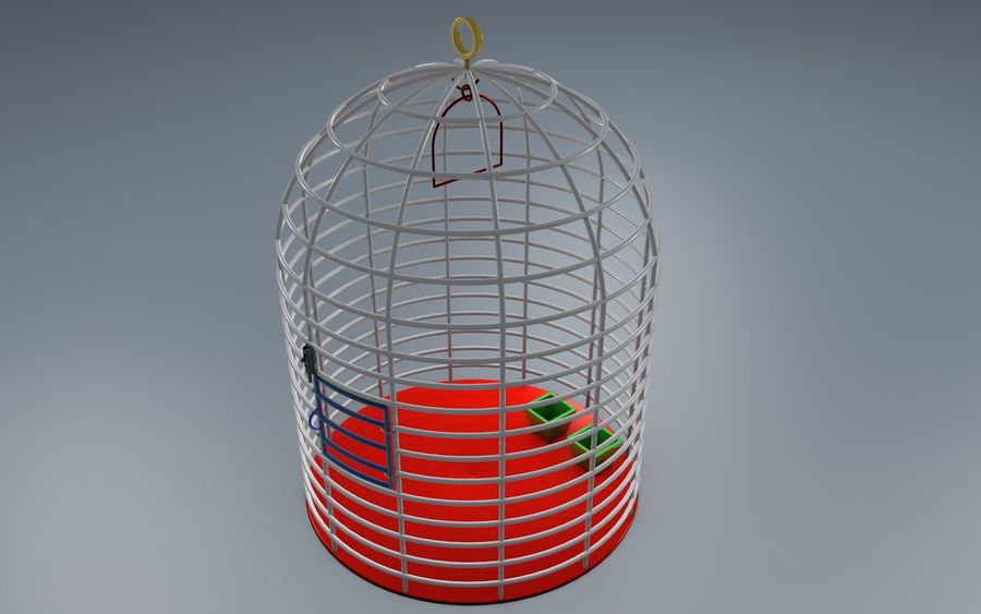 birds cage royalty-free 3d model - Preview no. 1