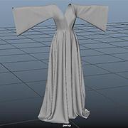 Rozkloszowana suknia z paskiem 3d model