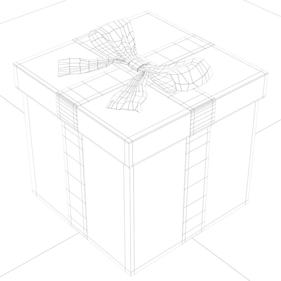 Weiße Geschenkbox mit rotem Band royalty-free 3d model - Preview no. 14