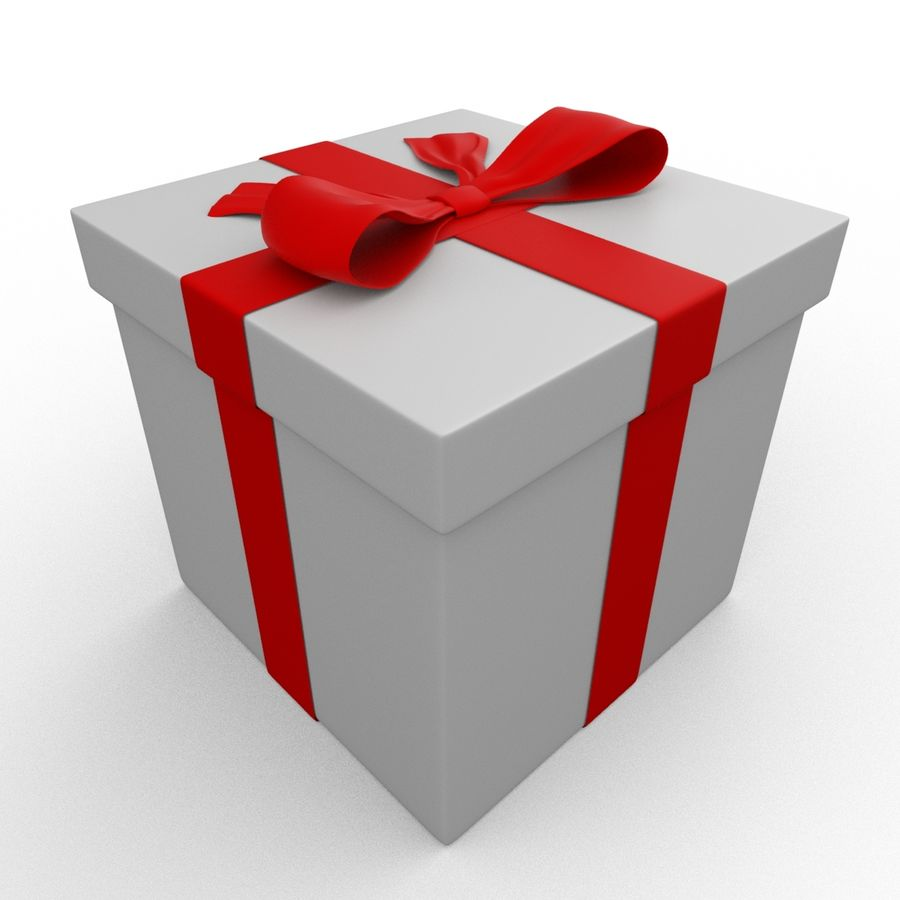 Weiße Geschenkbox mit rotem Band royalty-free 3d model - Preview no. 6