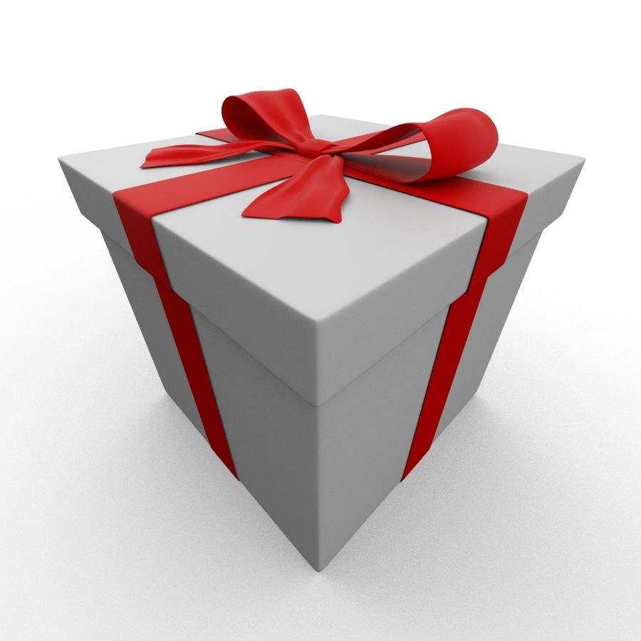 Weiße Geschenkbox mit rotem Band royalty-free 3d model - Preview no. 10