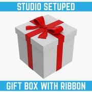 Witte geschenkdoos met rood lint 3d model