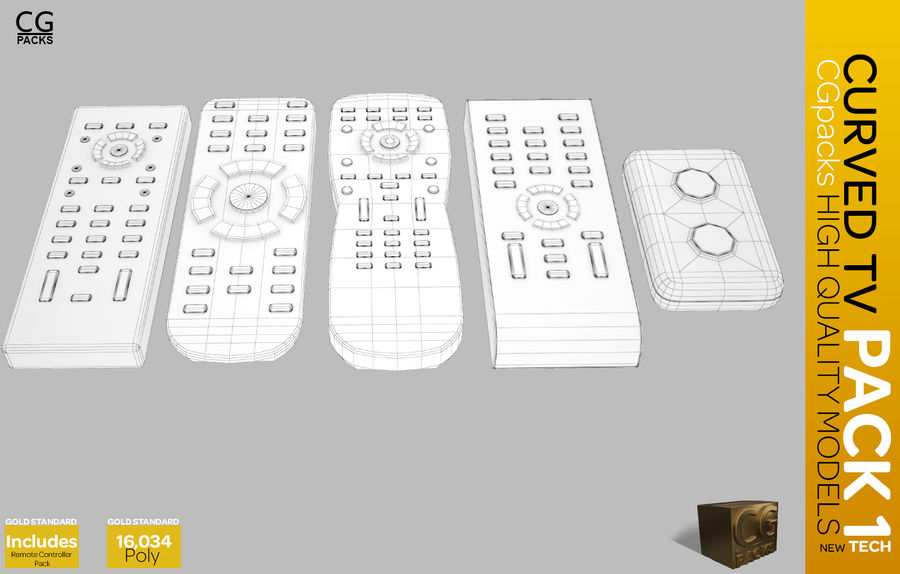 curved tv pack 1 royalty-free 3d model - Preview no. 13