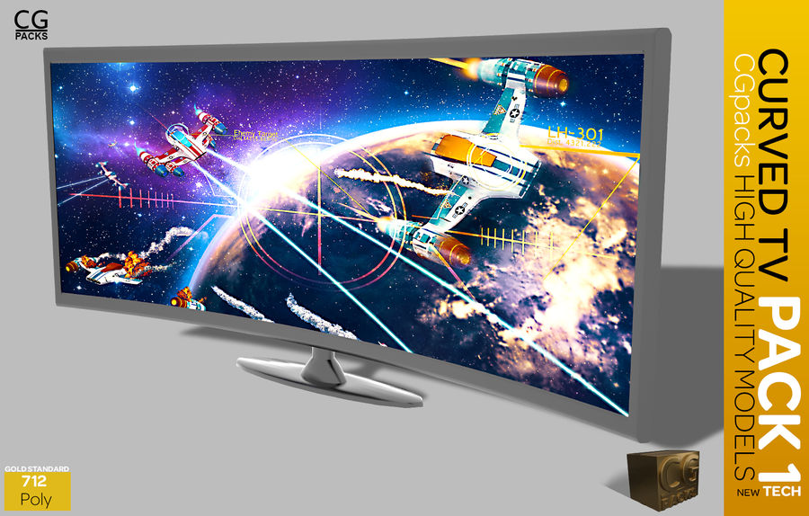 curved tv pack 1 royalty-free 3d model - Preview no. 9