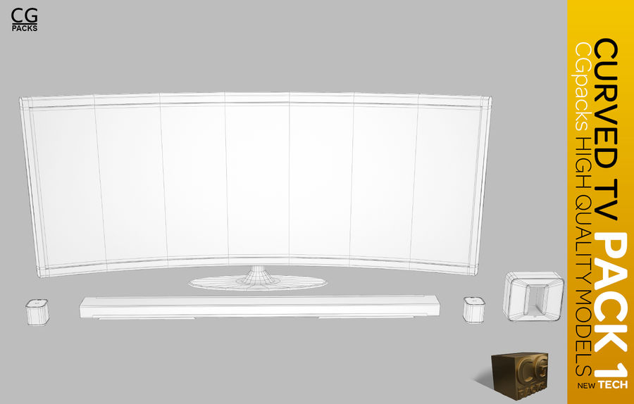 curved tv pack 1 royalty-free 3d model - Preview no. 2