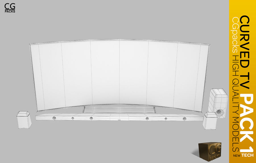 curved tv pack 1 royalty-free 3d model - Preview no. 4