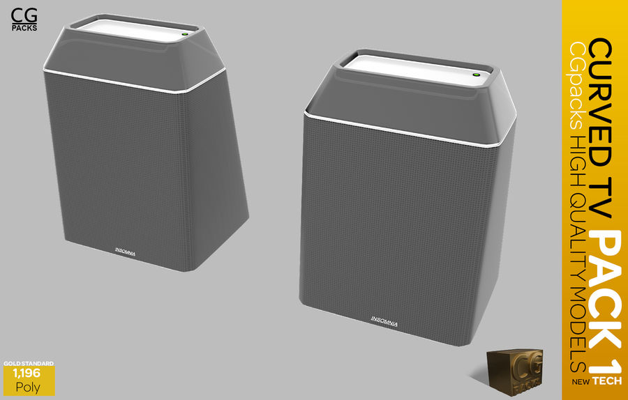 curved tv pack 1 royalty-free 3d model - Preview no. 6