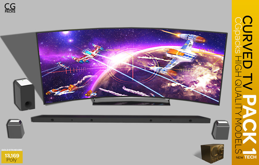 curved tv pack 1 royalty-free 3d model - Preview no. 3