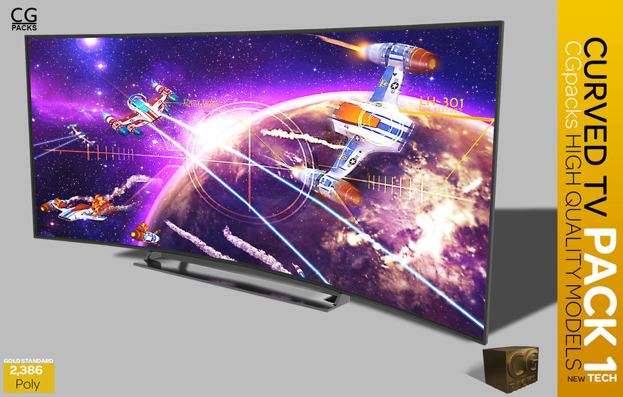 curved tv pack 1 royalty-free 3d model - Preview no. 10