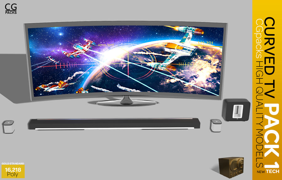 curved tv pack 1 royalty-free 3d model - Preview no. 1