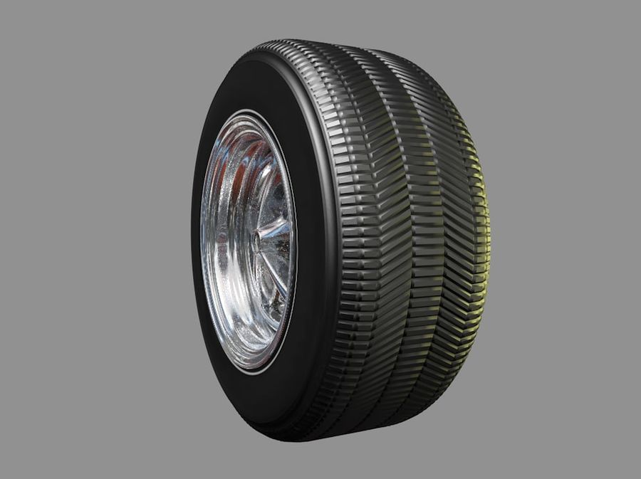 Muscle car wheel royalty-free 3d model - Preview no. 3