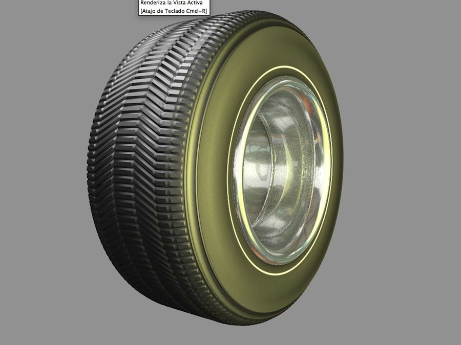Muscle car wheel royalty-free 3d model - Preview no. 6