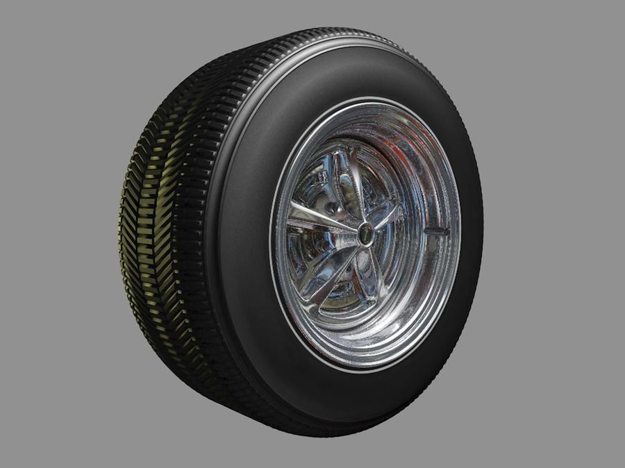 Muscle car wheel royalty-free 3d model - Preview no. 1