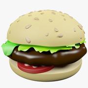 만화 햄버거 3d model